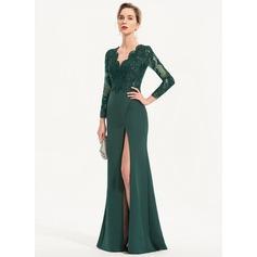 Sheath/Column V-neck Floor-Length Stretch Crepe Evening Dress With Sequins Split Front