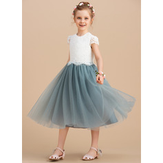 A-Line/Princess Tea-length Flower Girl Dress - Tulle/Lace Sleeveless Scoop Neck (010164718)