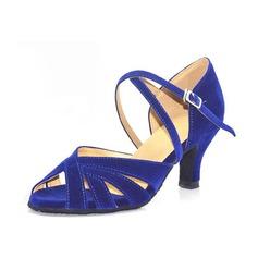 Mulheres Camurça Saltos Sandálias Latino com Correia de Calcanhar Sapatos de dança