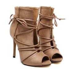 Kvinder Ruskind Stiletto Hæl Støvler Kigge Tå Ankelstøvler med Blondér sko