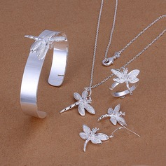 Butterfly Shaped Silver Plated Copper Ladies' Jewelry Sets