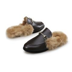 Vrouwen Kunstleer Flat Heel Flats met Gesp Bont schoenen