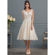 Balklänning Älskling Knälång Tyll Spets Bröllopsklänning med Beading Paljetter