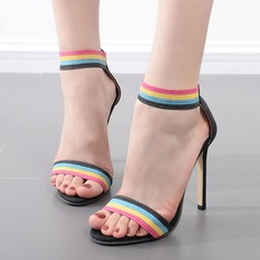 Women's Suede Stiletto Heel Sandals Pumps Peep Toe With Braided Strap shoes