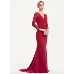Trumpet/Mermaid V-neck Sweep Train Stretch Crepe Evening Dress