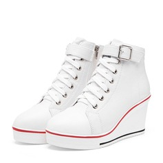 Frauen Leinwand Keil Absatz Absatzschuhe Geschlossene Zehe Keile Stiefel Stiefelette mit Schnalle Reißverschluss Zuschnüren Schuhe