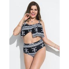 Sexy Cintura Alta poliéster Bikinis Traje de baño
