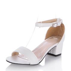 Kvinder Kunstlæder Stor Hæl Kigge Tå sandaler med Spænde
