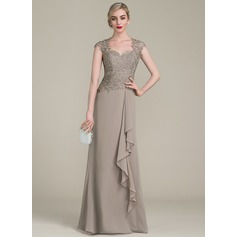 A-Line/Princess Sweetheart Floor-Length Chiffon Lace Mother of the Bride Dress With Cascading Ruffles