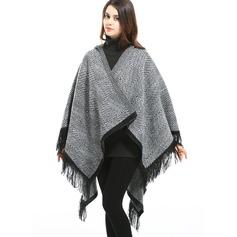 Retro /Vendimia/Borla de gran tamaño/Clima frío La lana artificial Poncho