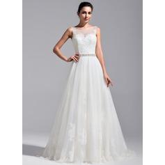 Vestidos princesa/ Formato A Decote redondo Comboios Catedral Tule Renda Vestido de noiva com Bordado Lantejoulas