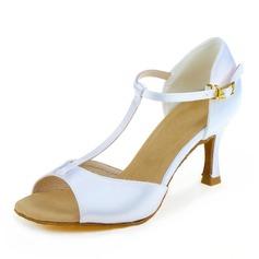 De mujer Satén Tacones Sandalias Danza latina con Tira T Zapatos de danza