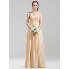 Vestidos princesa/ Formato A Decote redondo Longos De chiffon Renda Vestido de madrinha com Pregueado