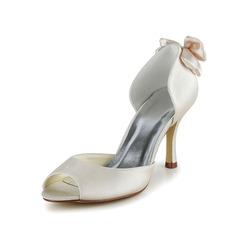 Kvinnor Satäng Stilettklack Peep Toe Pumps Sandaler med Fören