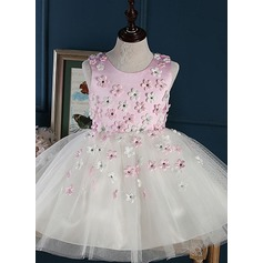 A-Line/Princess Short/Mini Flower Girl Dress - Tulle Sleeveless Jewel With Flower(s) (010092128)