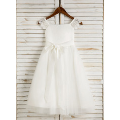 A-Line Tea-length Flower Girl Dress - Satin/Tulle Sleeveless Square Neckline With Lace/Sash (010091712)