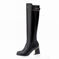 De mujer Cuero Tacón ancho Botas sobre la rodilla con Rhinestone zapatos