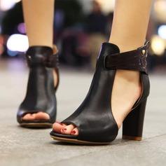 Frauen Kunstleder Stämmiger Absatz Sandalen Schuhe