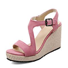 Vrouwen Suede Wedge Heel Pumps Plateau Wedges Peep Toe Slingbacks met Gesp schoenen
