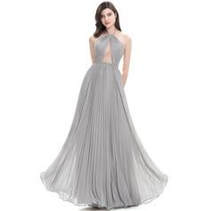 A-Line/Princess Halter Floor-Length Chiffon Prom Dress With Pleated