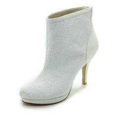 Frauen Satiniert Kegel Absatz Stiefel Geschlossene Zehe Plateauschuh Absatzschuhe mit Stich Spitzen