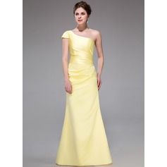 A-Line/Princess One-Shoulder Floor-Length Satin Bridesmaid Dress With Ruffle