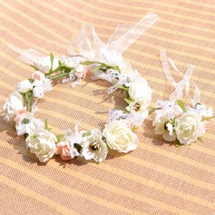 Attractive Foam/Artificial Silk Flower Sets (Including Headdress Flower and Wrist Corsage)