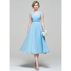A-Line/Princess V-neck Tea-Length Chiffon Bridesmaid Dress With Ruffle (007074187)