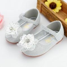 Jentas Round Toe Ballett Flat Leather flat Heel Flate sko Flower Girl Shoes med Rhinestone Velcro Blomst