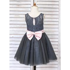 Corte A/Princesa Hasta la rodilla Vestidos de Niña Florista - Tul/Encaje Sin mangas Escote redondo con Fajas/Lazo(s)