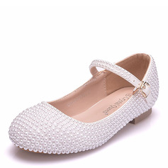 Girl's Ronde neus Closed Toe Mary Jane imitatieleer Flats met Gesp Imitatie Parel Parel