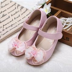 Muchacha Punta Cerrada Kunstleder Talón plano Planos Zapatos de niña de las flores con Bowknot Perlas de imitación