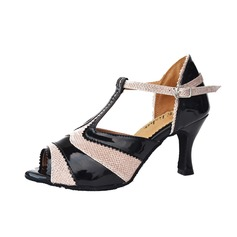 De mujer Cuero Tacones Sandalias Danza latina con Tira T Zapatos de danza