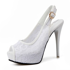 Kvinnor Mesh Stilettklack Sandaler Pumps Plattform Peep Toe Slingbacks med Spänne skor