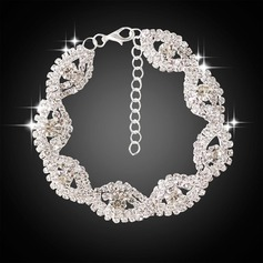 Glänzende Zink-Legierung mit Nachahmung Kristall Frauen Mode Armbänder (Sold in a single piece)