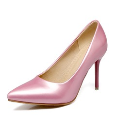 Women's Patent Leather Stiletto Heel Pumps Closed Toe shoes (085169784)