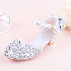 Jentas Round Toe Lukket Tå Leather Sparkling Glitter lav Heel Flate sko Flower Girl Shoes med Bowknot