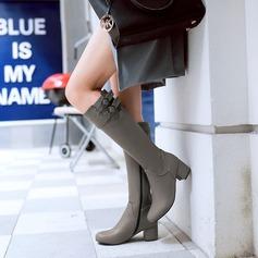 Kvinder Kunstlæder Stor Hæl Støvler Knæhøje Støvler med Spænde Lynlås sko (088125606)