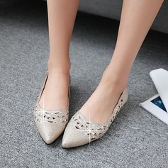 Women's Leatherette Flat Heel Flats Closed Toe With Sparkling Glitter Hollow-out shoes