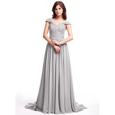 Vestidos princesa/ Formato A Decote V Sweep/Brush trem De chiffon Vestido de baile com Pregueado Renda Bordado Lantejoulas