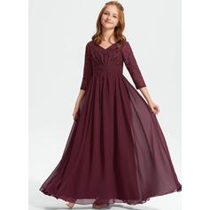 Corte A Decote V Longos Tecido de seda Renda Vestido de daminha júnior (009234008)