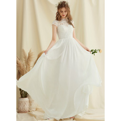 A-Line Scoop Neck Floor-Length Chiffon Lace Wedding Dress (002234887)