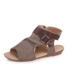 Женщины бархат Плоский каблук Сандалии На плокой подошве Открытый мыс Босоножки с пряжка Застежка-молния обувь