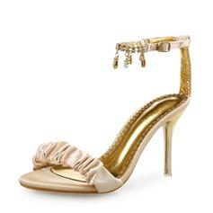 Mulheres Seda Salto agulha Sandálias Peep toe com Pregueado Corrente sapatos