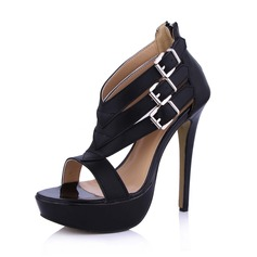 Leatherette Stiletto Heel Peep Toe Platform Sandals With Buckle Zipper