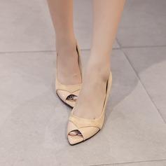Femmes Suède PU Talon stiletto Escarpins À bout ouvert avec Semelle chaussures