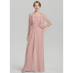 Square Neckline Floor-Length Chiffon Lace Evening Dress