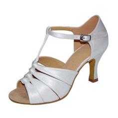 Kvinder Satin sandaler Pumps Latin med T-Strop Dansesko