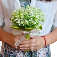Rond Satiné Bouquets de demoiselle d'honneur (vendu en une seule pièce) -