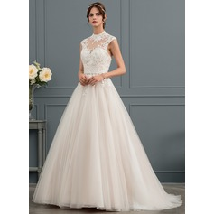 Ball-Gown High Neck Sweep Train Tulle Wedding Dress With Sequins